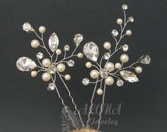This listing is for a set of three hair pins. Hair pins feature natural white fresh water pearl, swarovski crystals, tarnish resistant silver plated wire. Each hair pin measures approx 4cm*3cm  ~~~~~~~~~~~~~~~~~~~~~~~~~~~~~~~~~~~~~~~~~~~~~~~~~~~~~~~~~~ ~~~~~~~~~~~~~~~~~~~~~~~~~~~~~~~~~~~~~~~~~~~~~~~~~~~~~~~~~~ *HAND MADE TO ORDER – Approx ONE weeks for production. *Please read our POLICY before placing order: https://www.etsy.com/shop/adriajewelry/policy?ref=shop...