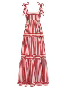 The Zinnia Stripe Tie Tiered Dress in Red Stripe from our Resort Swim 2020 Collection. A striped maxi dress featuring a full tiered skirt for volume and movement with tie up shoulder straps. cotton, maxi dress with full tiered skirt, fitted at bust, shirr Dress Outfits, Casual Dresses, Fashion Dresses, Summer Dresses, Resort Wear Dresses, Striped Maxi Dresses, Tiered Dress, Dress Skirt, Dress Red
