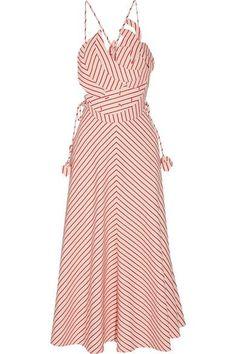 Rosie Assoulin - Tutti Frutti Appliquéd Striped Linen And Cotton-blend Maxi Dress - Red