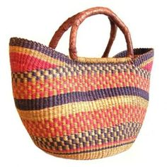 Unique, handmade small Bolga baskets handcrafted from elephant grass and leather.    http://www.ejwipsdesigns.ca/shop/african-home-decor/small-bolga-baskets/