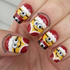 Image christmas nail art designs - click the picture to see them all!Image viaChristmas Nail Art Design Ideas I don't care for the sn Holiday Nail Art, Christmas Nail Art Designs, Winter Nail Art, Winter Nails, Christmas Design, Easy Christmas Nail Art, Xmas Nail Art, Cute Nail Art, Cute Nails
