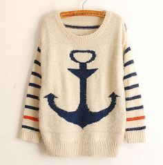 intage Women Stripe Navy Anchor Knit Sweaters Pullover Jumper Cardigan Outwear Wholesale Free Shipping WC079 $23.09