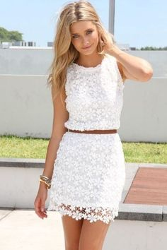 A classy any day go to outfit . White lace summer dress with brown belt