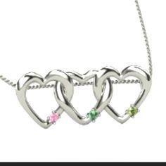 Birthstone linked heart necklace Gemvara.com