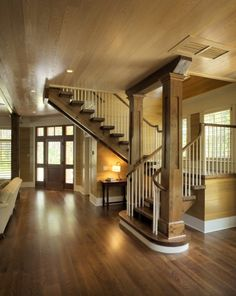 Lovely staircase and entry for a craftsman style home