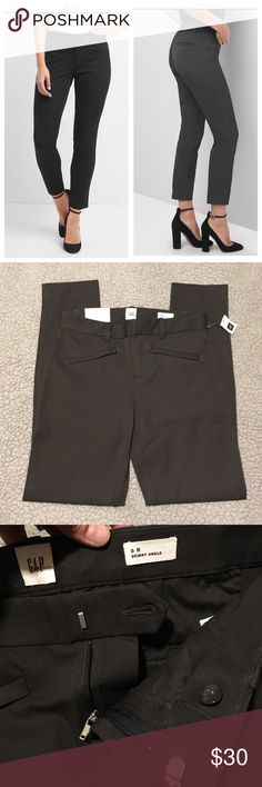"""NWT Gap Gray Skinny Two Way Stretch Ankle Pants 0 Brand new Gap two way (bi stretch) stretch mid rise (actually 9"""" so on the higher side) charcoal gray Skinny Ankle pants. 95% cotton 5% spandex. Very comfortable all day pants! Do not lose their shape! Look super sharp on! I have too many gray pants and just never wore them. Waist across is 14"""", 9"""" rise, inseam is a perfect 28"""". I'm 5'5 and they hit me right At the ankle. Front Zipper slant pockets. Faux back pockets. $70 brand new. Bundle…"""