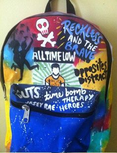 I NEEEEEDD!!!!!! All Time Low inspired backpack by Music4TheSole on Etsy, $25.00