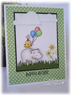 Birthday Card - Using Lawn Fawn Hippo Birdie and MFT dies