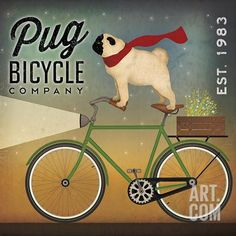 Pug on a Bike Art Print by Ryan Fowler at Art.com