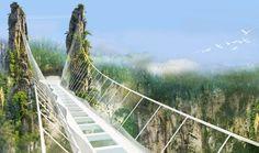 Panorámica del puente, construido en el Gran Cañón de Zhangjiajie. Foto vía…