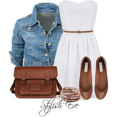 Jeans jacket, white dress with brown flats and a brown bag with golden braceletts looks very cute
