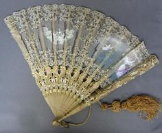 Victorian Hand Fans for Sale | ... ANTIQUE Ornate Painted Folding HAND FAN Victorian Lace, Sheer Fabric