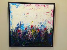 Layers and layers of color and texture using Acrylic on stretched canvas.   From imagination, I visualized beautiful overgrown frenzy of flowers under an overcast sunset.  x4 layers of gloss fo...
