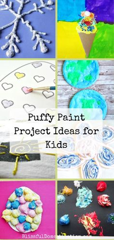Over 14 puffy paint project ideas for kids, including homemade recipes and alternative ideas. Sensory, creative, three dimensional and fun! Crafts For Kids To Make, Projects For Kids, Project Ideas, Art For Kids, Art Projects, Kids Crafts, Activity Games For Kids, Family Activities, Homemade Puffy Paint