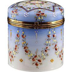 Antique Victorian era Opaline enamelled glass trinket hinged Box