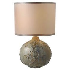 Ceramic table lamp with floral embossing and a drum shade.    Product: LampConstruction Material: Ceramic and fabricColor: Distressed blueAccommodates: (1) 60 Watt bulb - not includedDimensions: 19.5 H x 12.5 Diameter