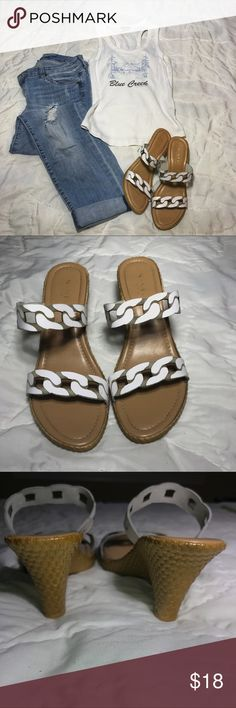 """Two strap white wedge sandals size 8 Nine West wedge sandals featuring simulated cork base with white rope detail straps.   Approx 3"""" heel.  Footbed measures just over 9.5"""".   Super comfortable.   Worn a handful of times, see photos for wear (mostly on soles).   Pet and smoke free household. Fast shipping. Nine West Shoes Sandals"""