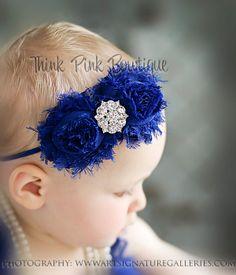 Baby headbands royal blue headband Baby Headband by ThinkPinkBows aa477398c60