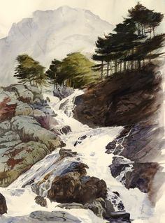 Ogwen falls., an original watercolour painting by Rob Piercy