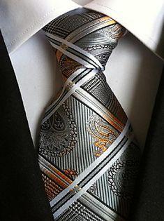 Men Wedding Cocktail Necktie At Work Gray White Pattern Tie – USD $ 4.99