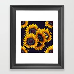 Yellow gold sunflowers framed print Framed Wall Art, Framed Art Prints, Fine Art Prints, Sunflower Bouquets, Annual Plants, Artwork Prints, Color Patterns, Yellow, Blue