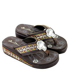 1d0af7764 Loving this Coffee Bling Bling Cross Embroidered-Wedge Flip-Flop on  zulily!