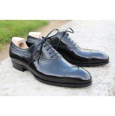 Handmade Mens Black Brogue Dress Shoes, Men Real Leather Formal Shoes - Dress/Formal