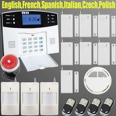 Teclado LCD GSM SMS Wireless Home sistemas de Alarma de la Casa inteligente auto Seguridad kit Sistema de Alarma de Ladrón de La Puerta + detector de Humo
