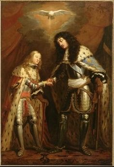 Charles II of Spain and his cousin Louis XIV of France sealing their alliance under the blessing of the Holy Spirit.