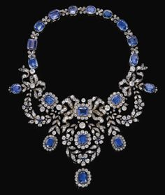 Sapphire and diamond necklace, late 19th century. From the Habsburg Sapphire Parure of Empress Marie-Louise of France.