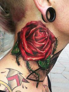 Red rose neck tattoo by Yomico Moreno #rose #tattoo #InkedMagazine #tattoos