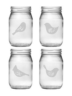 Susquehanna Glass Co. Birds of a Feather Drinking Jars (Set of 4) € 56,61
