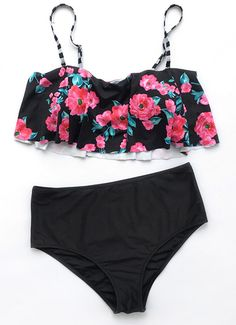 $19.99 Only with free shipping&easy return! The floral falbala swimwear will have your admirers instantly enchanted! It is also detailed with adjustable straps&padding bra! Collect it at Cupshe.com