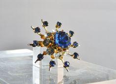 Coro Rhinestone Brooch Blue Snowflake Pin by GallivantsVintage