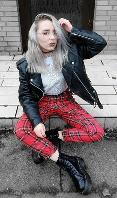 Moto faux leather jacket with Joy Division printed tee, tartan plaid pants & Dr Martens platform shoes by highinhighschool - #grunge #fashion #alternative