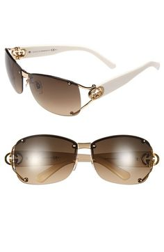 Women's Gucci 62mm Open Temple Special Fit Rimless Sunglasses - Gold White/ Brown Gradient
