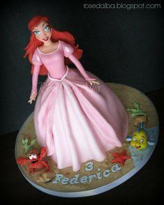 Little Mermaid Ariel Doll Dress Cake Fancy Cakes, Cute Cakes, Fondant Cakes, Cupcake Cakes, Ariel Cake, Little Mermaid Cakes, Ariel Doll, Sea Cakes, Dress Cake