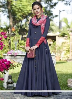 Buy gowns online for women - browse new arrival in gowns & dresses, check this brilliant fancy fabric blue designer gown for festival and party. Buy Gowns Online, Dresses Online, Sarees Online, Abaya Fashion, Indian Fashion, Icon Fashion, Midnight Blue Gown, One Piece Gown, Cotton Gowns