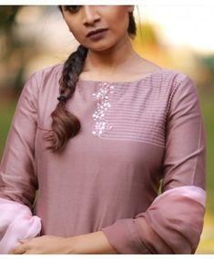 Best 12 Powder Brown Chandheri suit with Handwork Embroidery On Kurtis, Kurti Embroidery Design, Embroidery On Clothes, Embroidery Fashion, Embroidery Dress, Neckline Designs, Dress Neck Designs, Blouse Designs, Churidar Designs