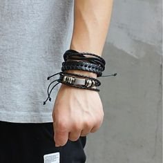 Product Specifics Item Type:BraceletsFine or Fashion:FashionChain Type:Link ChainMetals Type:Copper AlloyShape\pattern:RoundStyle:TRENDYCompatibility:All CompatibleClasp Type:Toggle-claspsModel Type:Cuff BraceletsMaterial:Leather Braided Bracelets, Paracord Bracelets, Bracelets For Men, Fashion Bracelets, Bangle Bracelets, Bracelet Men, Bangles, Diy Leather Bracelet, Types Of Braids