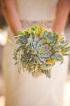 Silver blue succulent bouquet -- with lavender instead of that little yellow stuff? or bluebells or something like that...forget-me-nots?