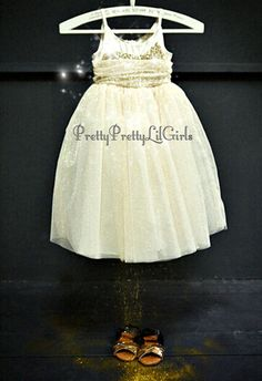 Absolutely Stunning Girls Princess Dress If you are looking for the Ultimate Princess Dress this is it !!! Definitely a Show Stopping Glamour Glitter Dress Couture Ivory Dress with Gold Glitter Galore