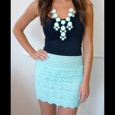 NWOT! Mint lace skirt NWOT! Never worn, perfect condition. All over lace, mint in color. Fully lined, higher waisted. Forever 21 Skirts
