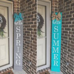 """Add a touch of warmth to your front porch and greet your guests with a custom made porch sign!This Porch Sign measures and is double sided! """"Hello Spring"""" is gray with white writing and a turquoise bow. """"Hello Summer"""" is turquoise with white writi Front Porch Signs, Front Porches, Front Doors, Summer Signs, Hello Spring, Spring Summer, House With Porch, Spring Sign, Pallet Signs"""