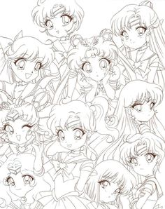 Sailor Moon Chibis by *Rurutia8 on deviantART| if I don't color this right now, I'm going to die.
