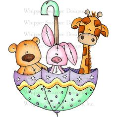 Whipper Snapper Designs - Whipper Snapper Designs Cling Stamp - Baby Zoo Umbrella