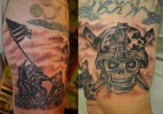 Usmc tattoo marine corps tattoo ripped skin ripped for Usmc sleeve tattoo ideas