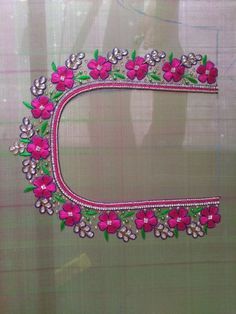 Hand Embroidery Design Patterns, Hand Embroidery Flowers, Hand Work Embroidery, Aari Embroidery, Cutwork Blouse Designs, Kids Blouse Designs, Hand Designs, Mirror Work Blouse Design, Hand Work Design