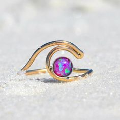 ROXY GIRL WAVE RING. PINK OPAL WAVE RINGS.