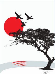 Japanese Art Prints, Japanese Artwork, Japanese Graphic Design, Samourai Tattoo, Bonsai Tree Tattoos, Aesthetic Japan, Art Asiatique, Japanese Illustration, Samurai Art